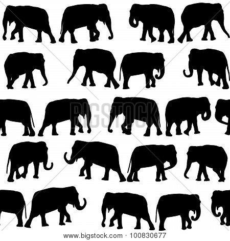 Black Elephants Seamless Pattern