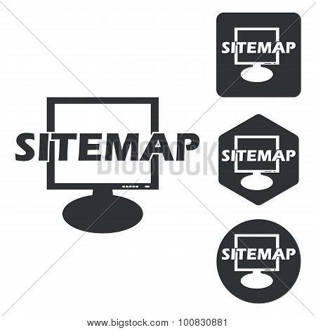 Sitemap icon set, monochrome