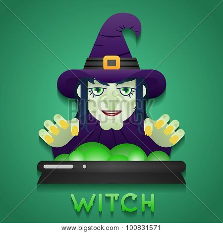 Halloween Party Witch Role Character Bust Icons Stylish Background Flat Design Greeting Card templat