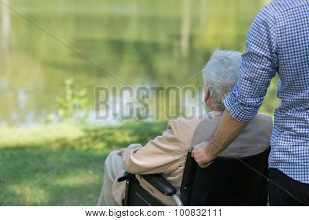 Elderly Man On Wheelchair