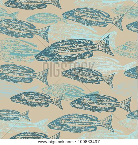 Vector seamless pattern with sketches of fish on kraft paper background