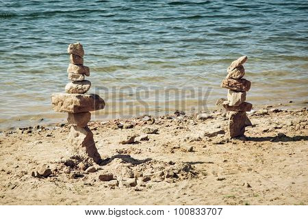 Towers Of Stone On The Lakeside