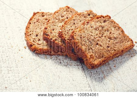 Slices Homemade Grain Bread On The Boards