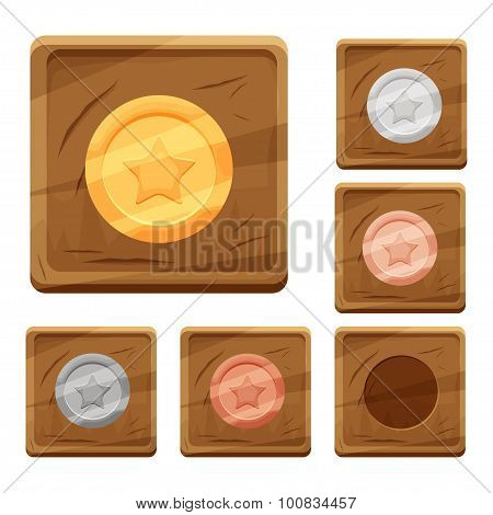 Set of colorful cartoon wooden icons with coins of different metals for the design of mobile games a