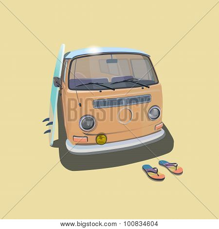 Surfer van beach poster for t-shirt graphics. Transportation and surfing, kitesurf  sport board, vec
