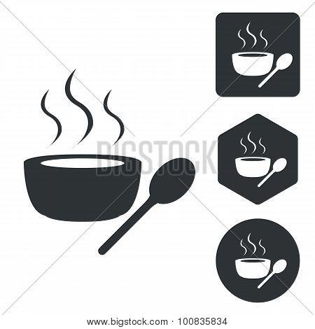 Hot soup icon set, monochrome
