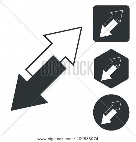 Opposite arrows icon set, monochrome