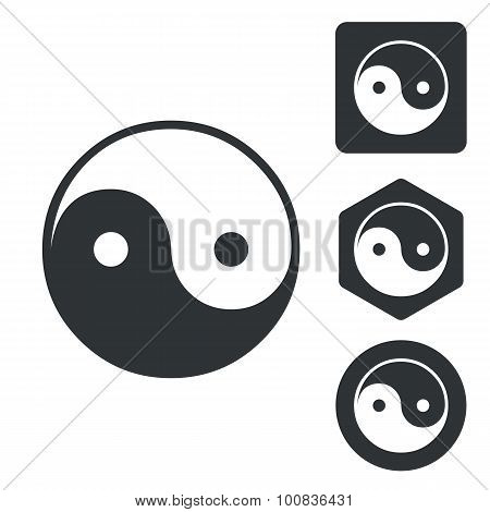 Ying yang icon set, monochrome