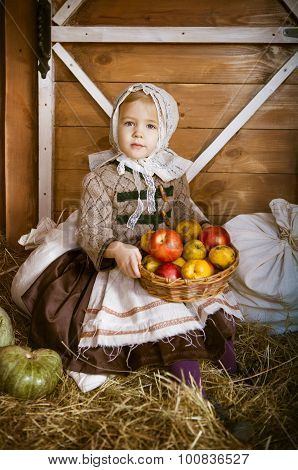 Vintage Styled Photo Of Little Smiling Girl In Farm