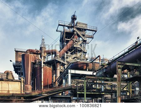 HDR filtered image of the Landschaftspark Duisburg-Nord a public park in the German city of Duisburg. The centerpiece of the park is formed by the ruins of a blast furnace complex shut down in 1985.