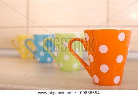 Tea Cups On Kitchen Countertop