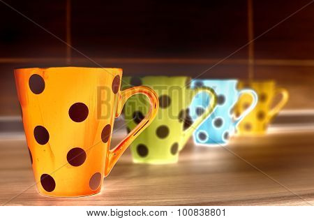 Tea Cups On Kitchen Countertop