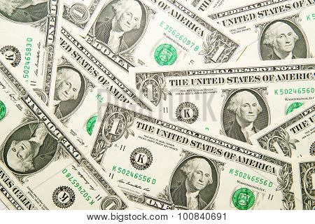A Lot Of Banknotes One Us Dollar