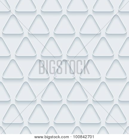 Triangles. White paper with outline extrude effect. Abstract 3d seamless background.
