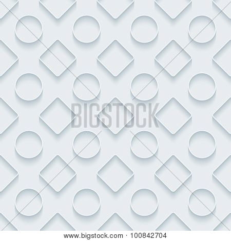 Circles and squares. White paper with outline extrude effect. Abstract 3d seamless background.