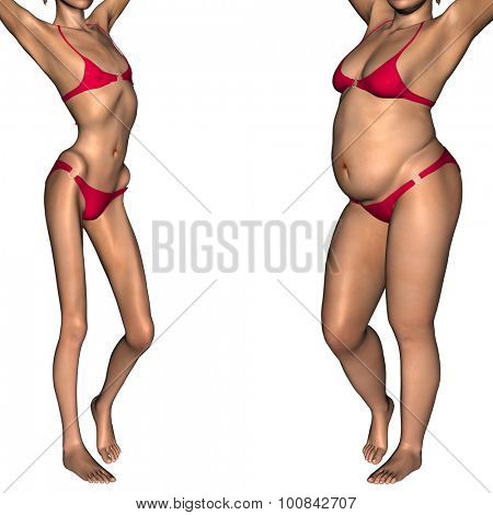 Concept or conceptual 3D woman or girl as fat, overweight and fit healthy, skinny underweight anorexic female before and after diet