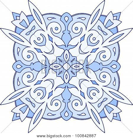 Abstract Vector Blue Square Lace Design In Mono Line Style - Mandala, Ethnic Decorative Element. Can