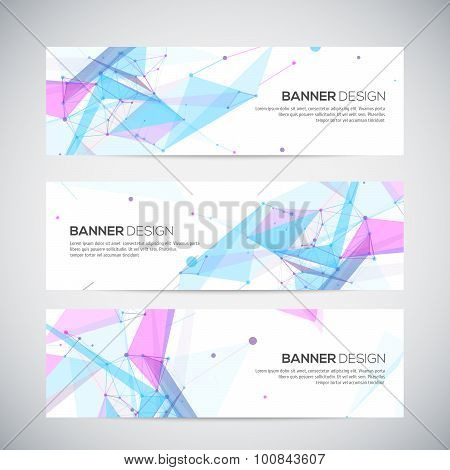 Vector banners set with polygonal abstract shapes