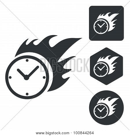 Burning clock icon set, monochrome