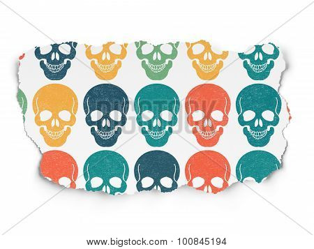 Medicine concept: Scull icons on Torn Paper background