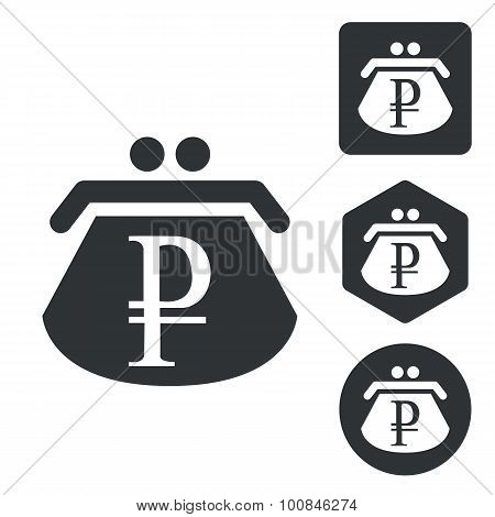 Rouble purse icon set, monochrome