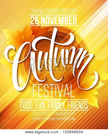 Autumn Festival poster template. Vector illustration