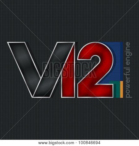 V12,  Bright Volumetric Emblem V12