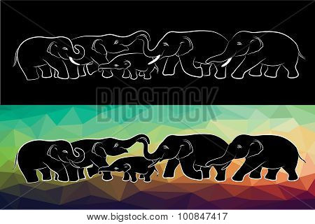 Family elephant of wildlife line and low poly vector design