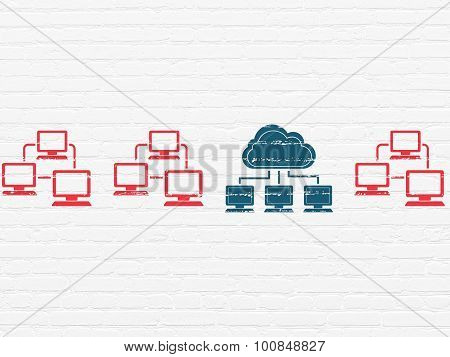 Cloud technology concept: cloud network icon on wall background