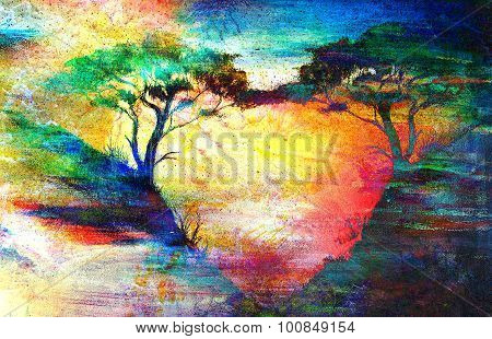 Painting sunset, sea and tree, wallpaper landscape, color collage. Hugging the trees creates a heart