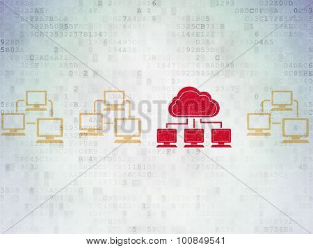Cloud networking concept: cloud network icon on Digital Paper background