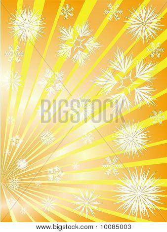 Fogos de artifício de flocos de neve aos raios divergentes de ouro