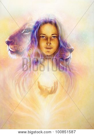 woman goddess holding a sourceful of a white light and Little lion cub head. abstract purple and yel