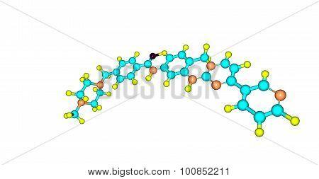 Imatinib molecular structure isolated on white