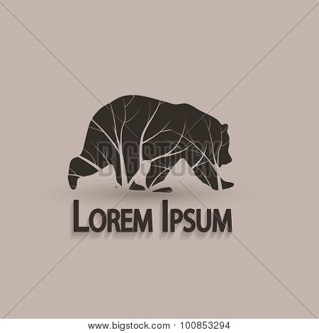 Stylized Grizzly Bear. Vector Illustration Tattoo. Creative Artistic Concept.