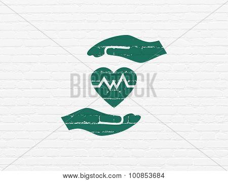 Insurance concept: Health Insurance on wall background