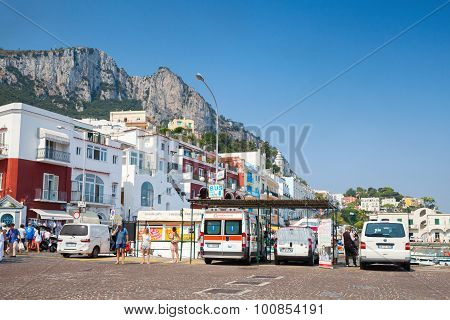 Cityscape Photo Of Capri Port, Tourists, Cars