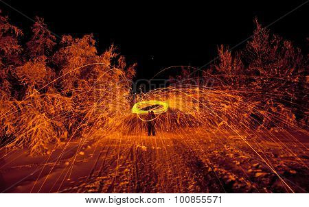 fire painting, light painting with sparks