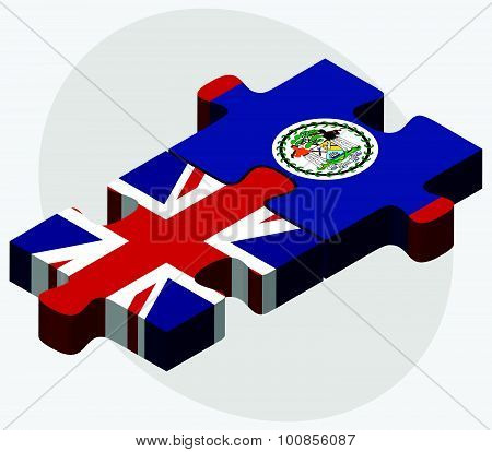 United Kingdom And Belize Flags