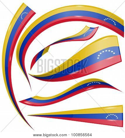 Venezuela Flag Set On White Background