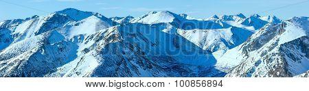 Kasprowy Wierch  In The Western Tatras. Winter Panorama.