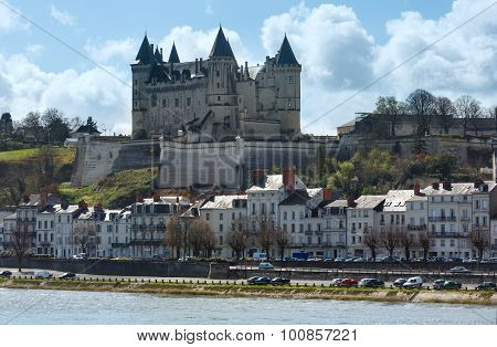 Saumur Castle On Loire River (france) Spring View.