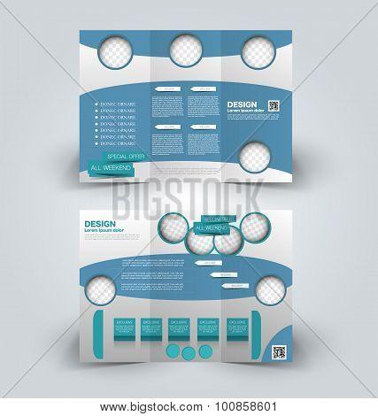 Brochure mock up design template. Trifold booklet.
