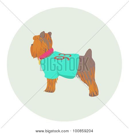 Vector Yorkshire Terrier standing half-face icon