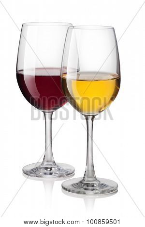 Glass of red and white wine isolated on a white background
