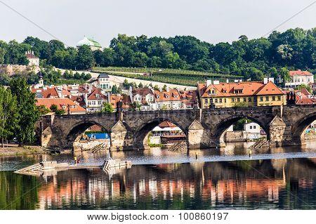 Karlov or charles bridge and river Vltava in Prague