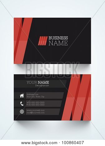 Creative horizontal business card or visiting card for your profession.