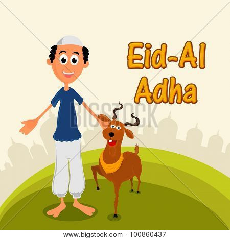 Happy Muslim man with goat on Mosque silhouetted background for Islamic Festival of Sacrifice, Eid-Al-Adha celebration.