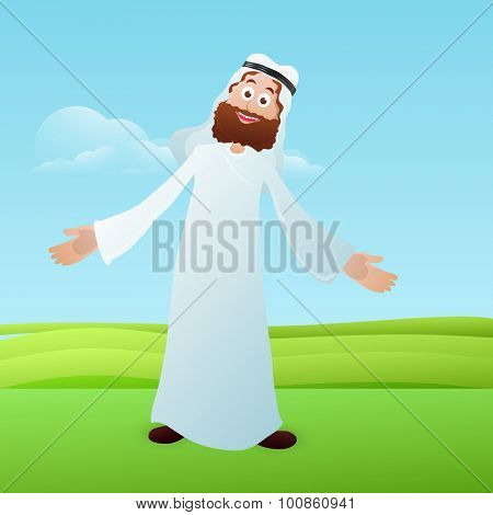 Illustration of a arabian man on nature background celebrating on occasion of muslim community festival of sacrifice, Eid-Ul-Adha.