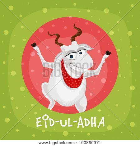 Muslim community festival of sacrifice, Eid-Ul-Adha Mubarak with illustration of a goat on stylish background.